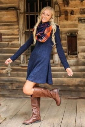 Awesome Winter Dress Outfits Ideas With Boots06