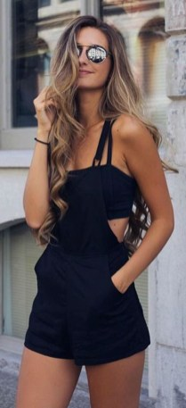 Adorable Black Romper Outfit Ideas08