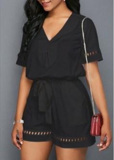 Adorable Black Romper Outfit Ideas28