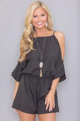 Adorable Black Romper Outfit Ideas34