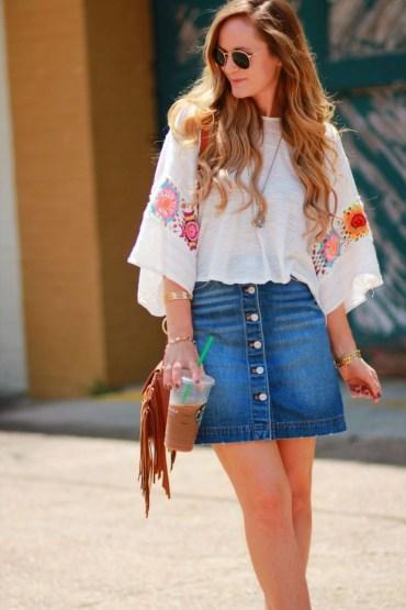 Elegant Denim Skirts Outfits Ideas For Spring33