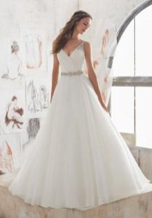 Pretty V Neck Tulle Wedding Dress Ideas For 201902