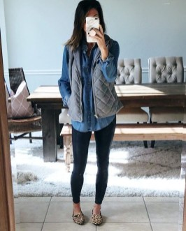Fancy Work Outfits Ideas With Black Leggings To Copy Right Now11