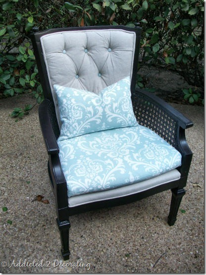 Reupholstered Cane Chair With Tufted Back  Addicted 2 Decorating