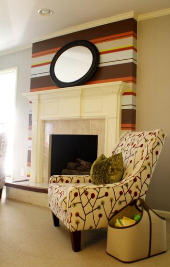 Bold Horizontal Striped Fireplace  Addicted 2 Decorating