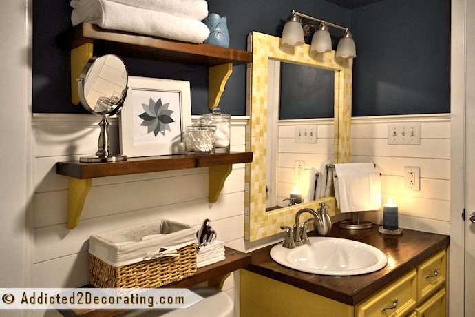 Blue and yellow bathroom makeover