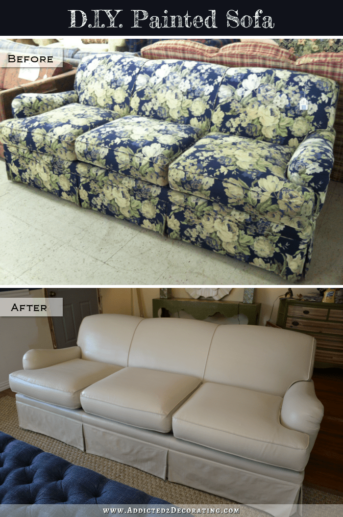 reupholstering sofa home goods cushions i painted my sofa! (before & after)