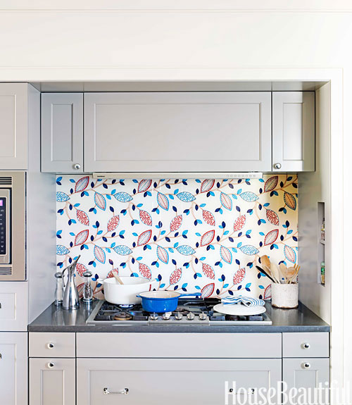 Unique Kitchen Backsplash Idea Fabric Under Glass
