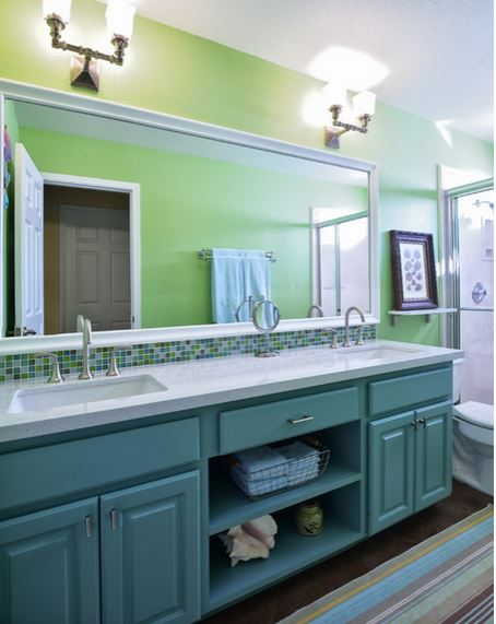Be Inspired To Paint Your Bathroom Vanity A Non Neutral Color Addicted 2 Decorating
