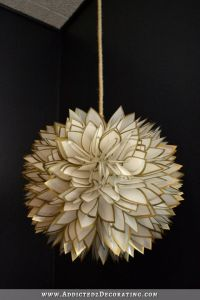 DIY Faux Capiz Shell Flower Pendant Light