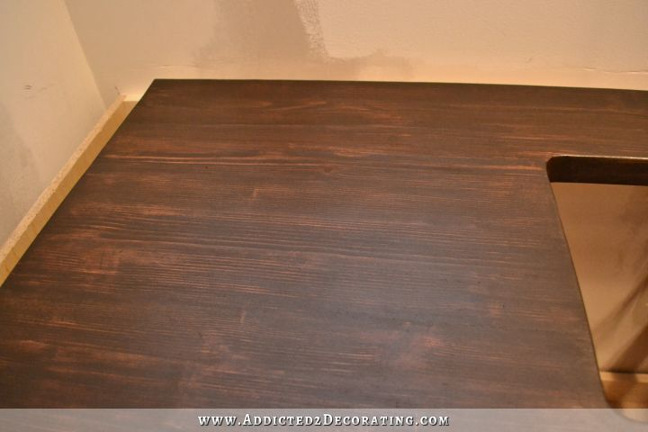 Dark Stained DIY Butcherblock Countertop With An