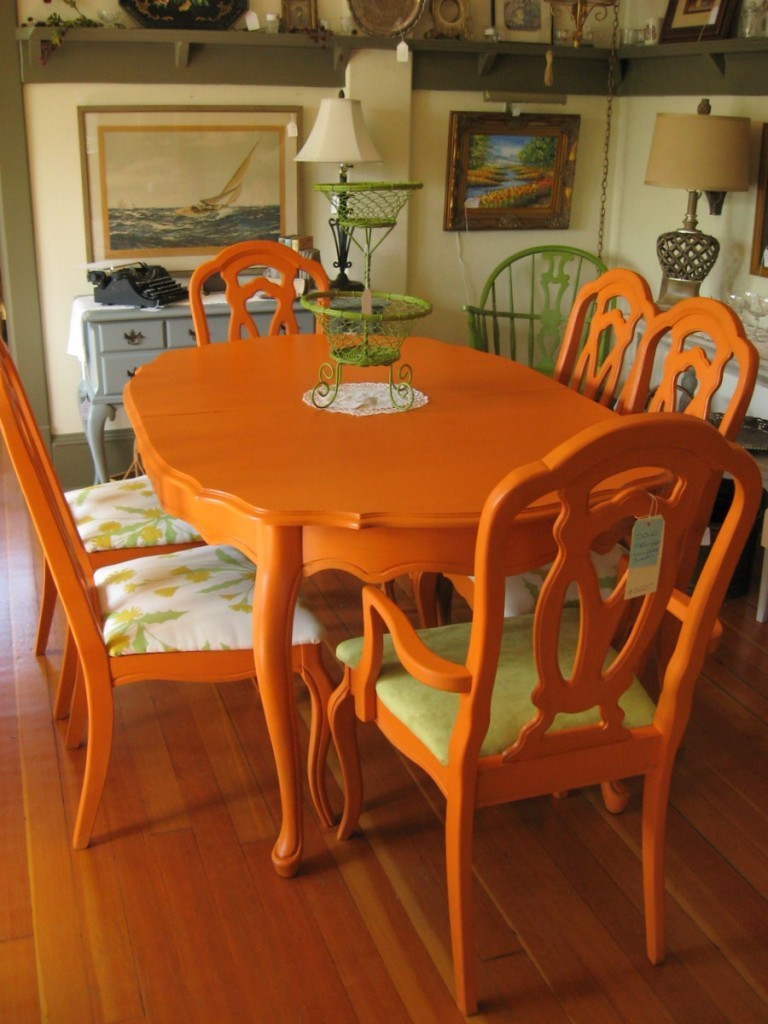 colorful kitchen table tool crock painted dining inspiration addicted 2 decorating via serendipity furnishings