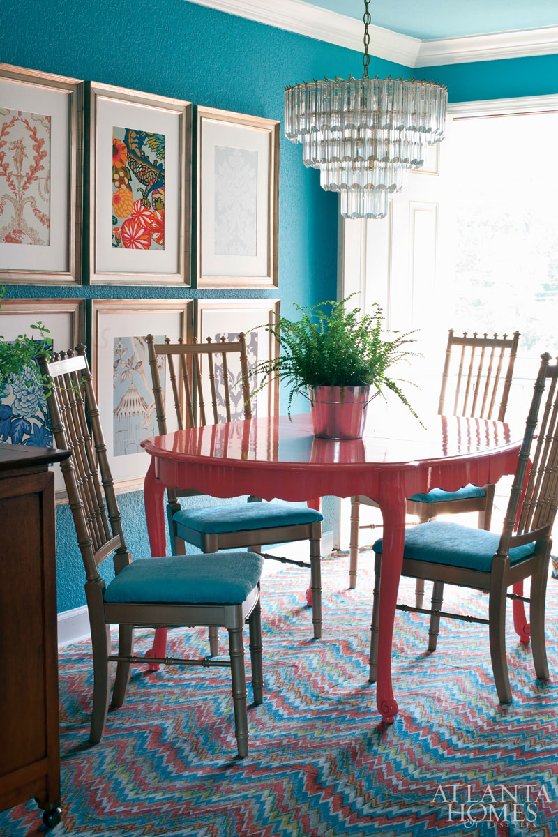 painted tables and chairs solid wood rocking chair colorful dining table inspiration addicted 2 decorating via atlanta homes magazine