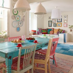 Colorful Kitchen Table Tiles Flooring Painted Dining Inspiration Addicted 2 Decorating Via House Of Turquoise