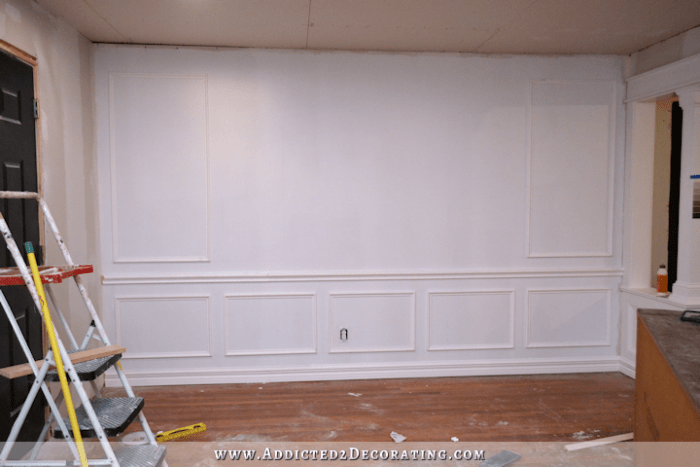 picture frame moulding below chair rail wheelchair zippie how to install molding entryway wall progress 2
