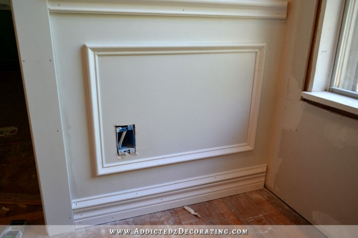 picture frame moulding below chair rail big lounge how to install molding attach wall with adhesive and nailsl wainscoting