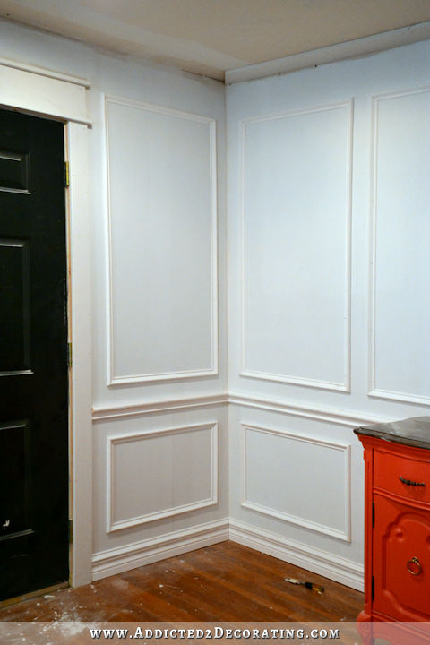 picture frame moulding below chair rail leather lounge and ottoman how to install molding the easiest wainscoting style ever