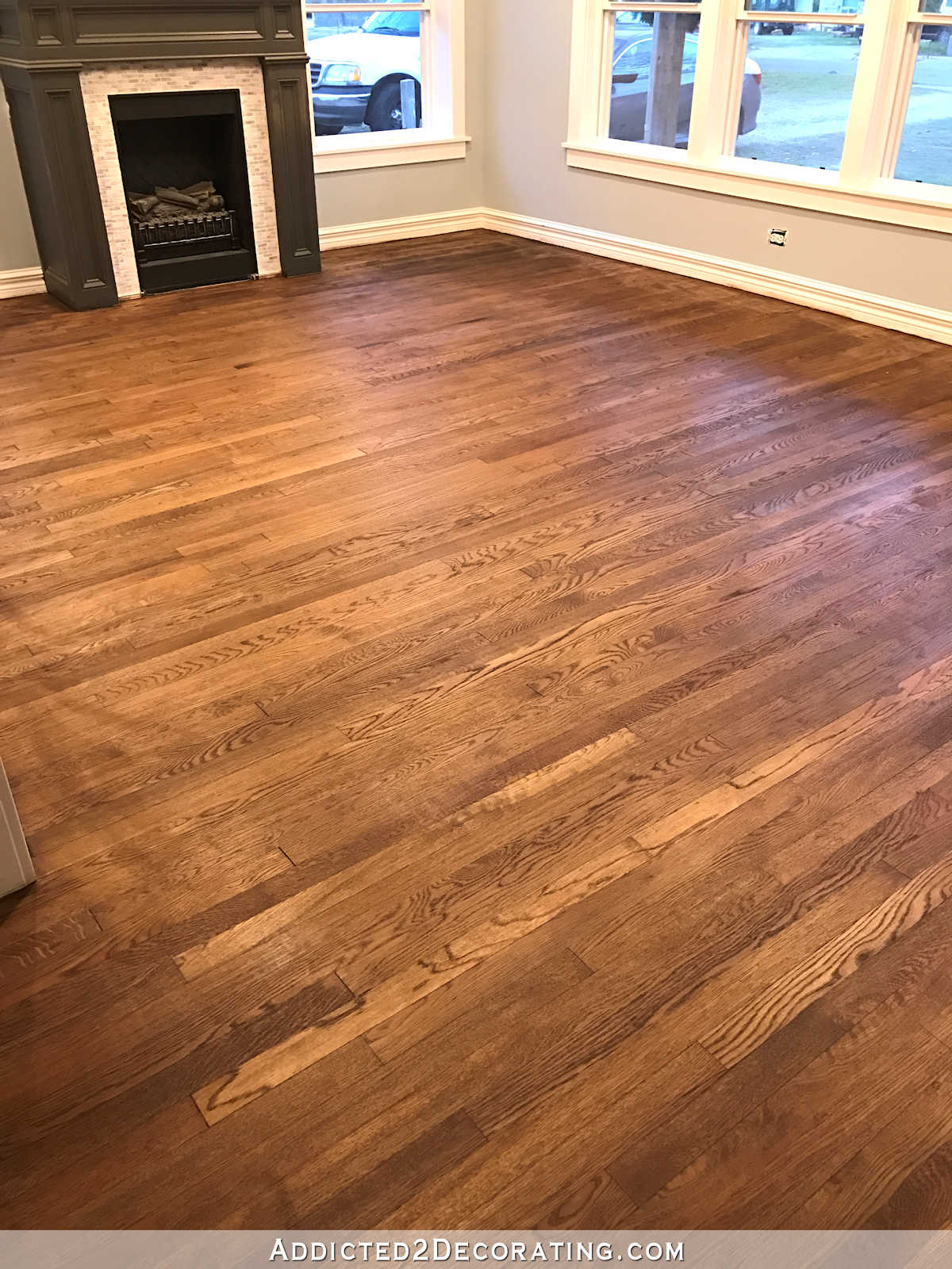oak wood floor living room window treatment ideas for formal my newly refinished red hardwood floors addicted 2 decorating staining 8a and entryway