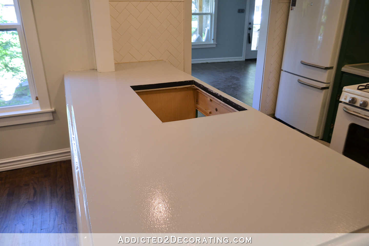 refinishing kitchen countertops remodels with white cabinets my concrete part 1 of 3 addicted 14 primer peninsula