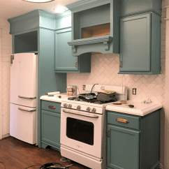 Kitchen Hutch Cabinet Counter Stool My Freshly Painted Teal Cabinets