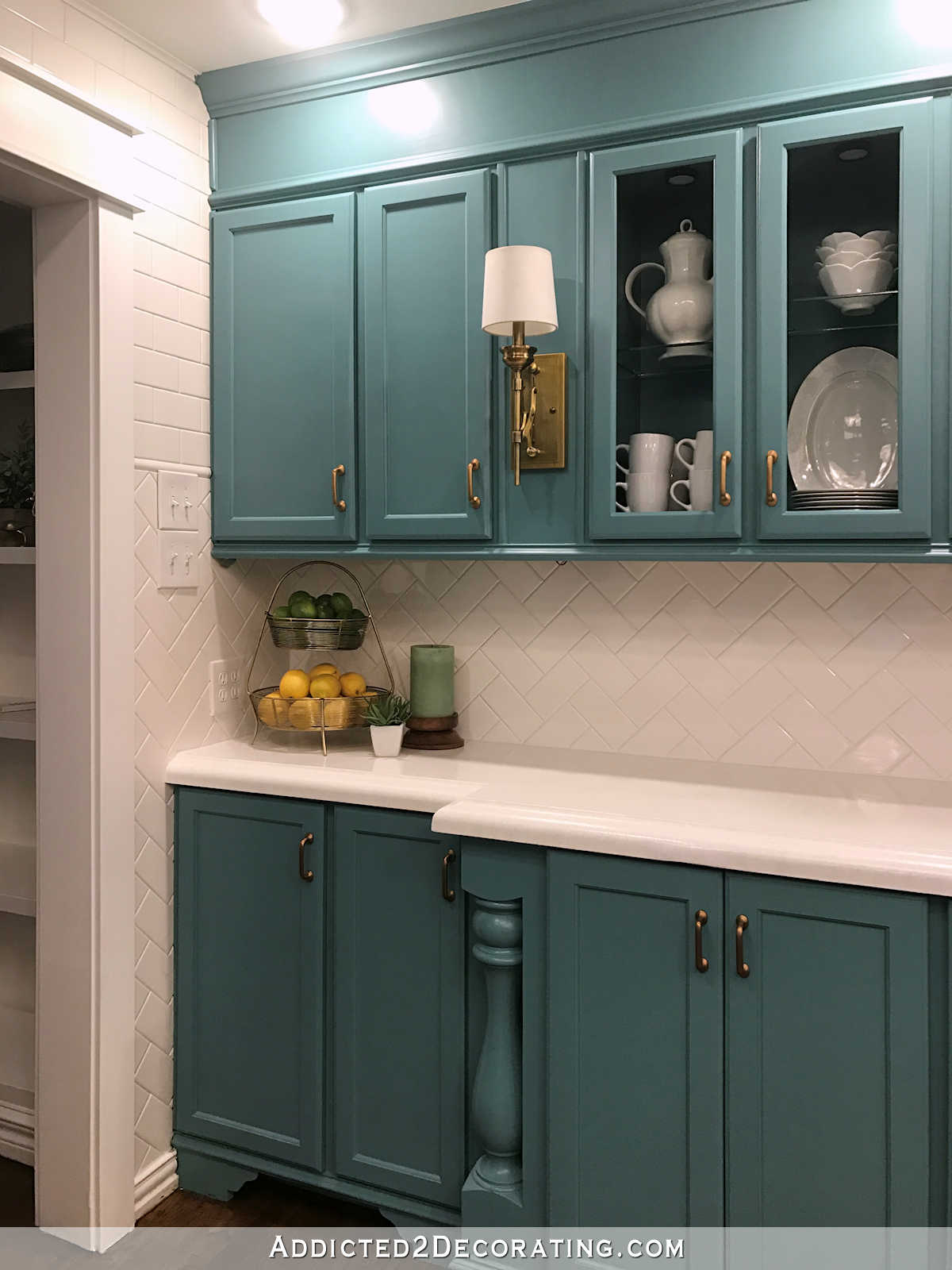 My FinishedForNow Kitchen From Kelly Green To Teal Before  After  Addicted 2 Decorating