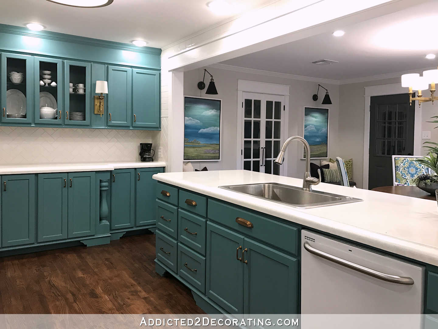 My Finished For Now Kitchen From Kelly Green To Teal Before Amp After Addicted 2 Decorating