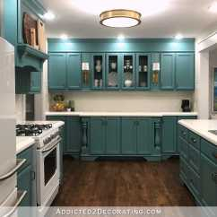 Teal Kitchen Appliances Sink Clogged My Finished For Now From Kelly Green To