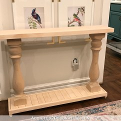 How To Build A Simple Bookcase Sofa Table Klaussner Sectional Reviews Very Diy Console With Turned Wood Columns