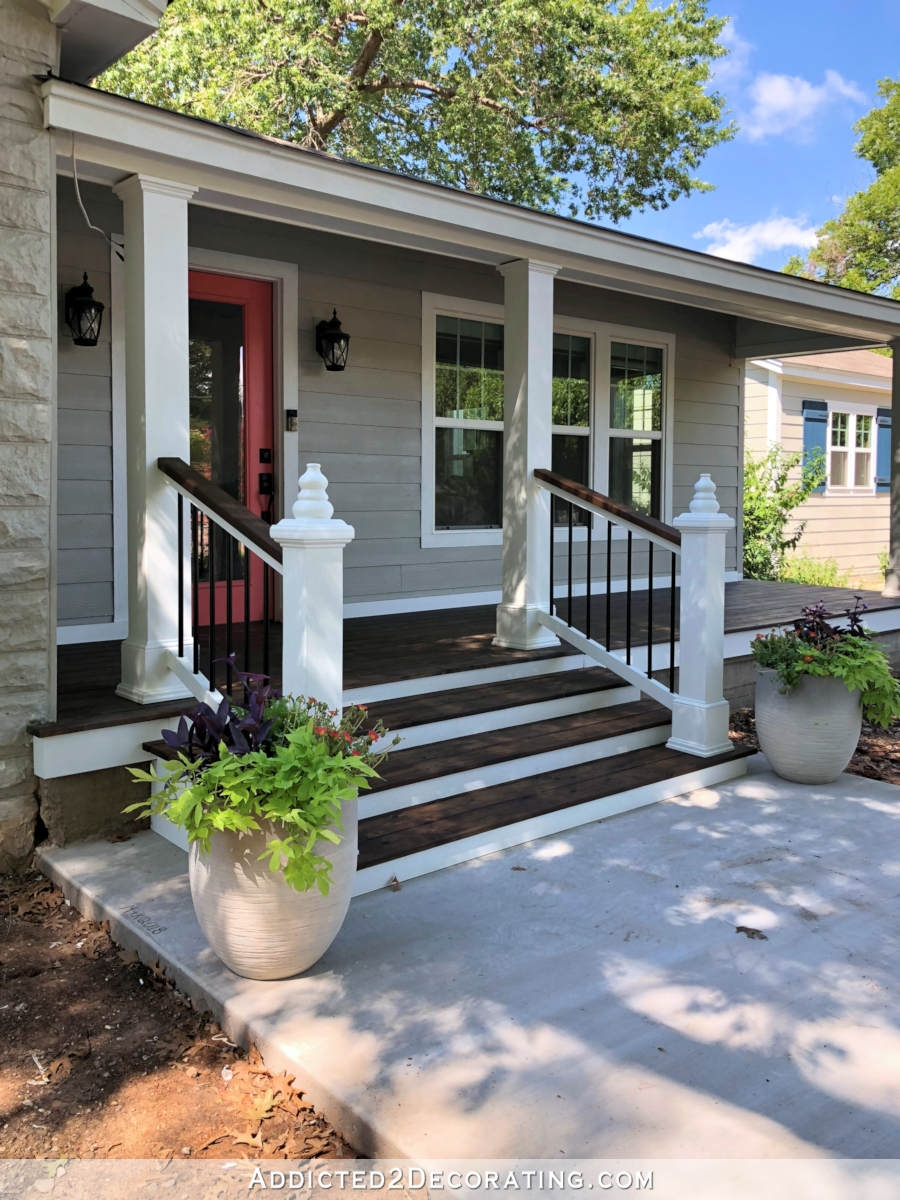 My Finished Front Porch Steps And Railings Addicted 2 Decorating® | Outside Stair Railing Installation | 3 Step | Rail | Painted Porch | Sunroom | Door Offset