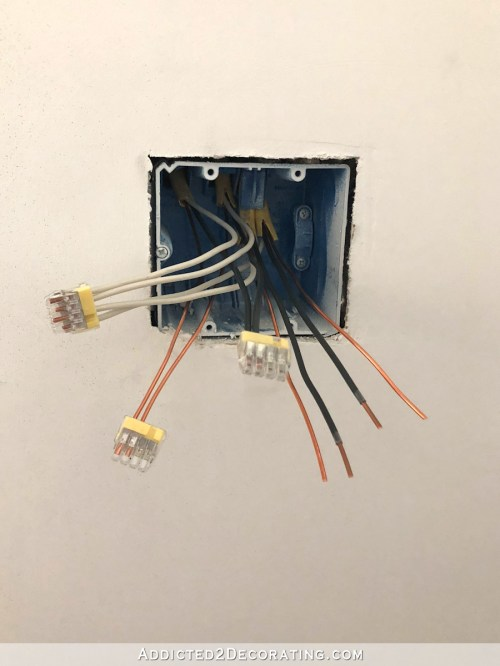 small resolution of that leaves me with two black hot wires one wire that goes to each light fixture but remember that each switch requires two blacks one bringing power