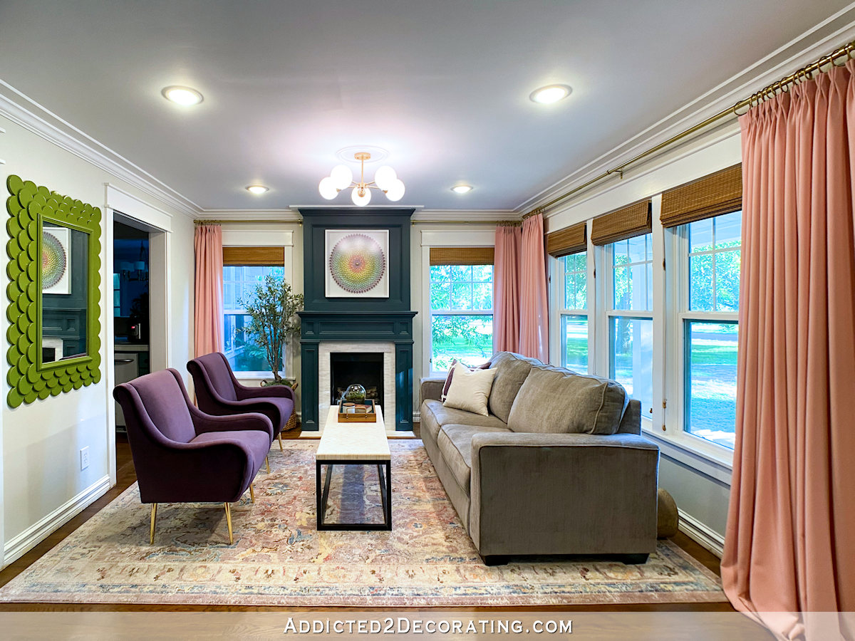Living Room Updates Purple Chairs New Ceiling Light Fixture Addicted 2 Decorating