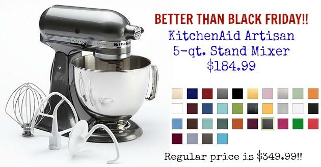 Better Than Black Friday 5 Qt KitchenAid Artisan Mixer