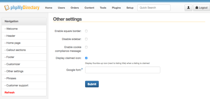Listimia Options: Other settings