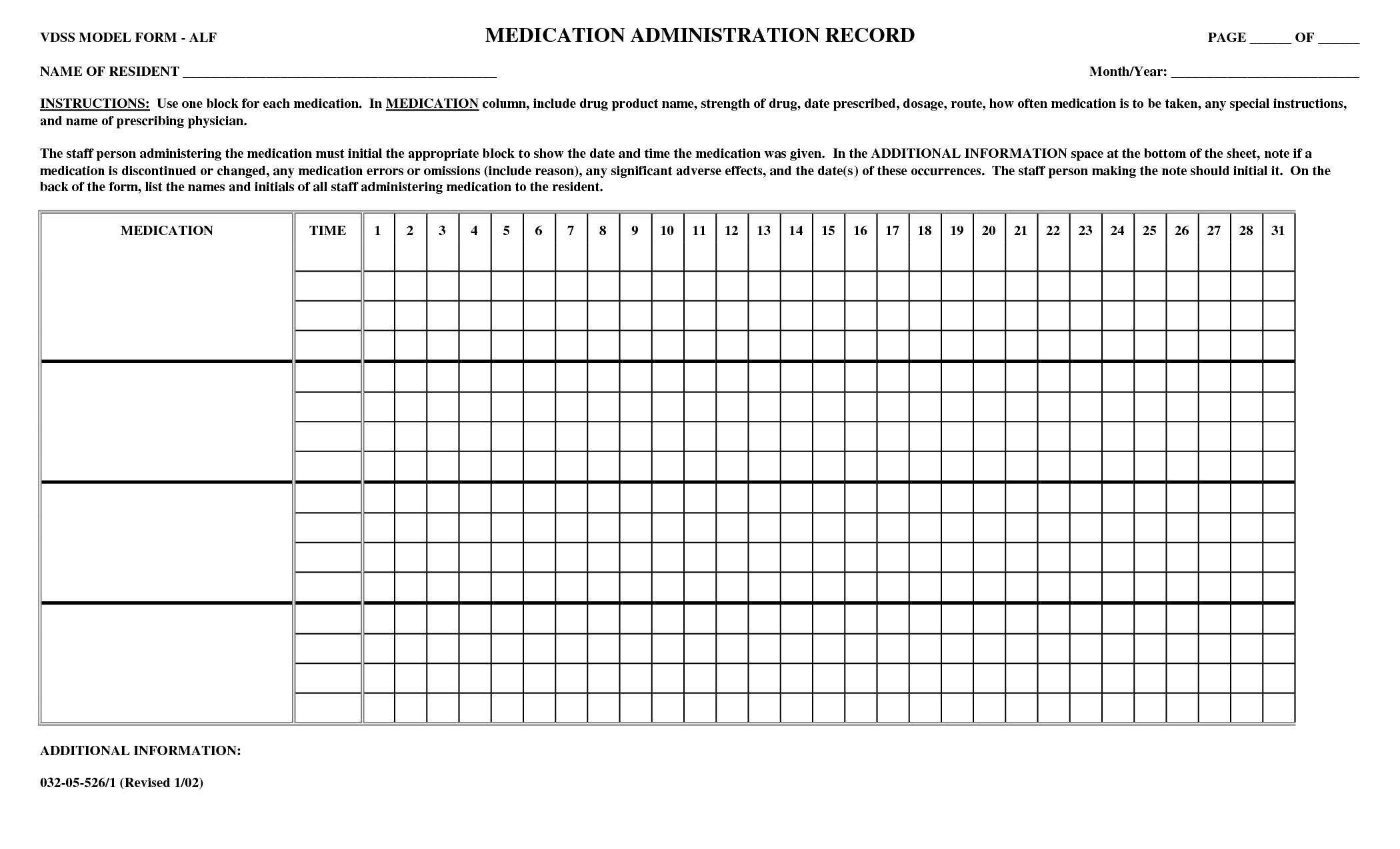 Medication Administration Record Template Addictionary
