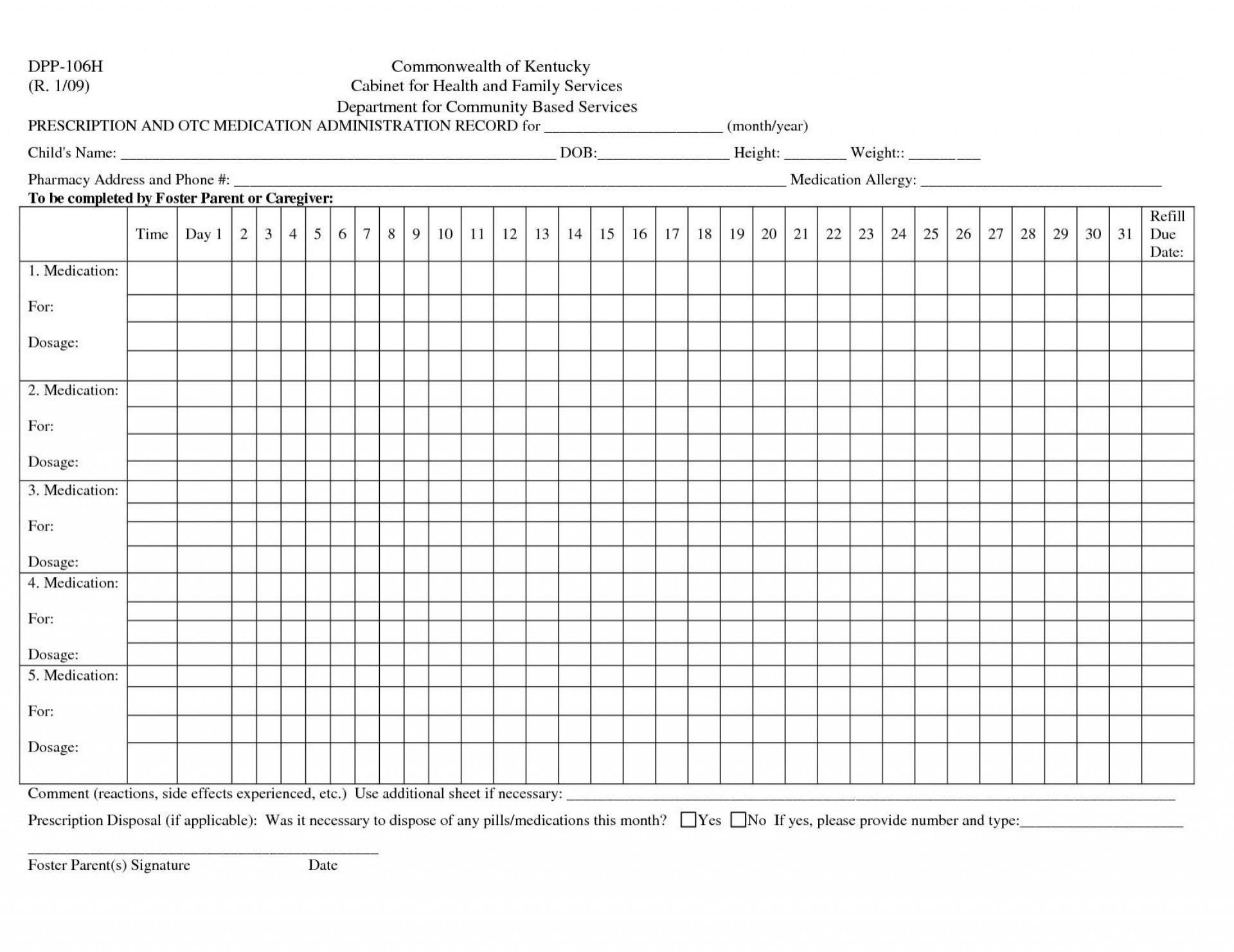 Medication Administration Record Template Uk ~ Addictionary