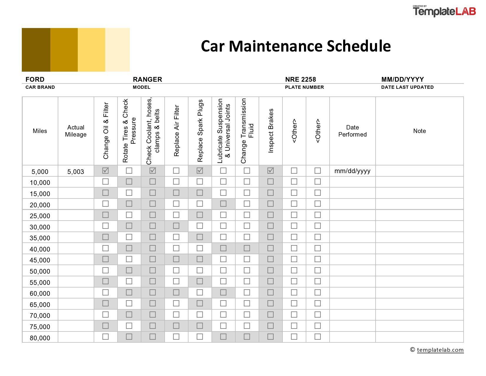 Vehicle Maintenance Schedule Template ~ Addictionary
