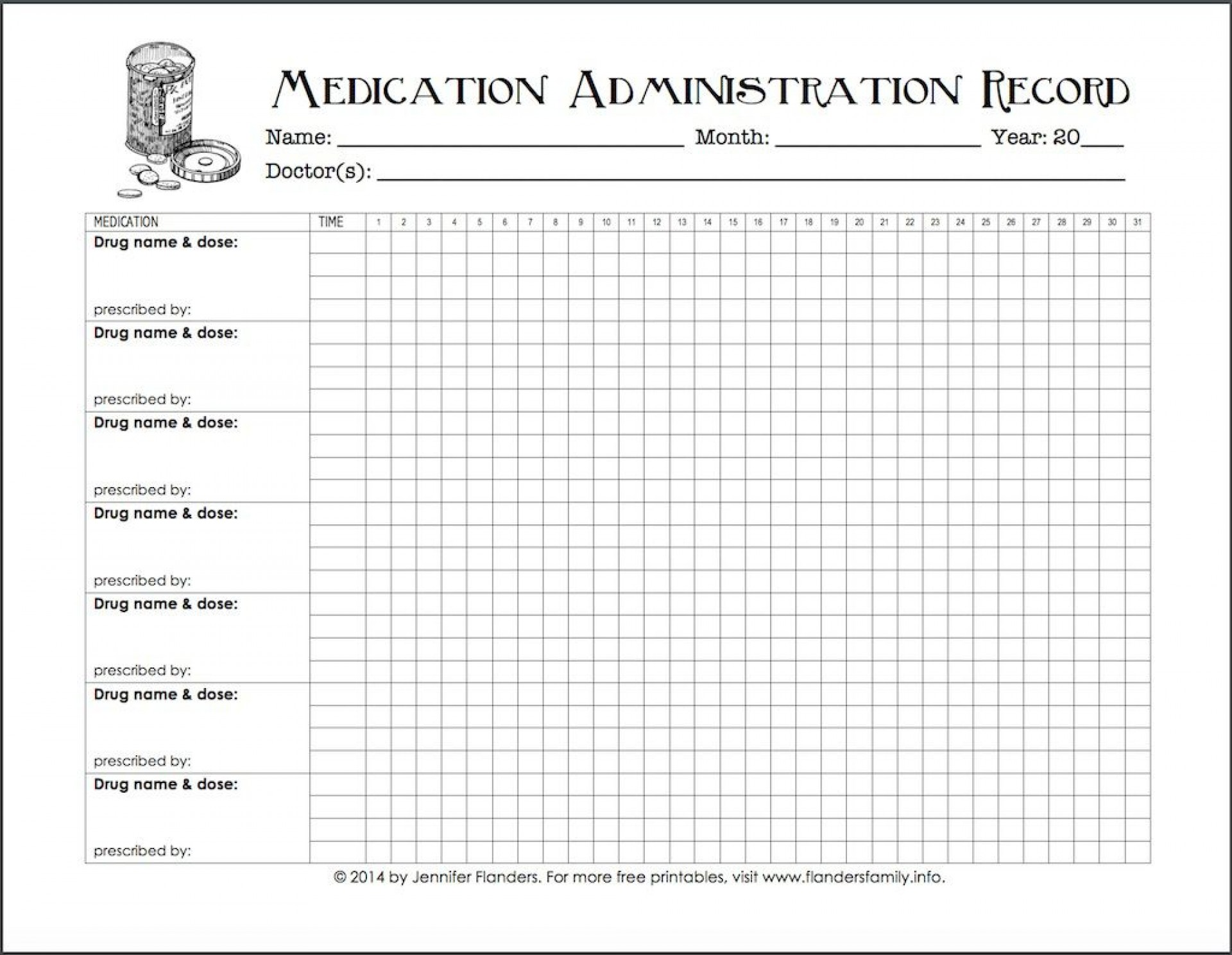 Blank Medication Administration Record Template ~ Addictionary