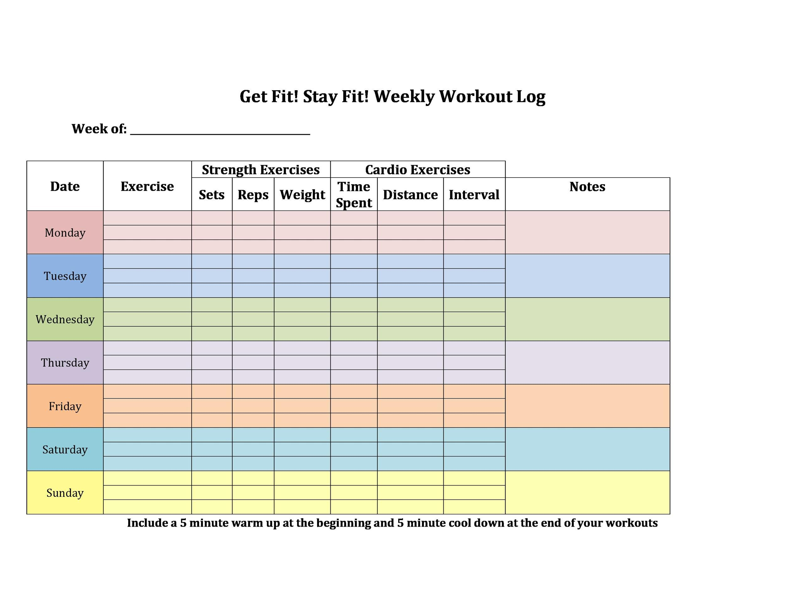 Weekly Workout Schedule Template Addictionary