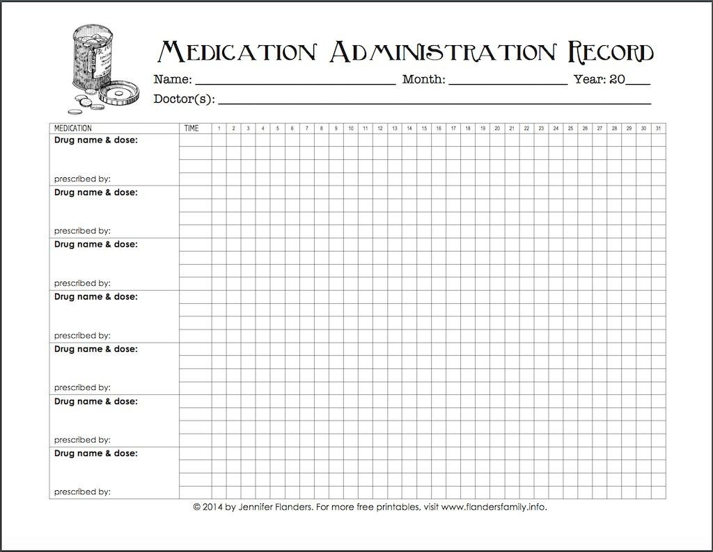 Medication Administration Record Template ~ Addictionary