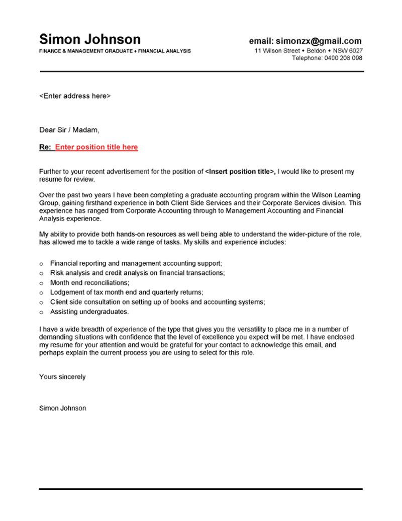 Email Cover Letter Example Australia ~ Addictionary