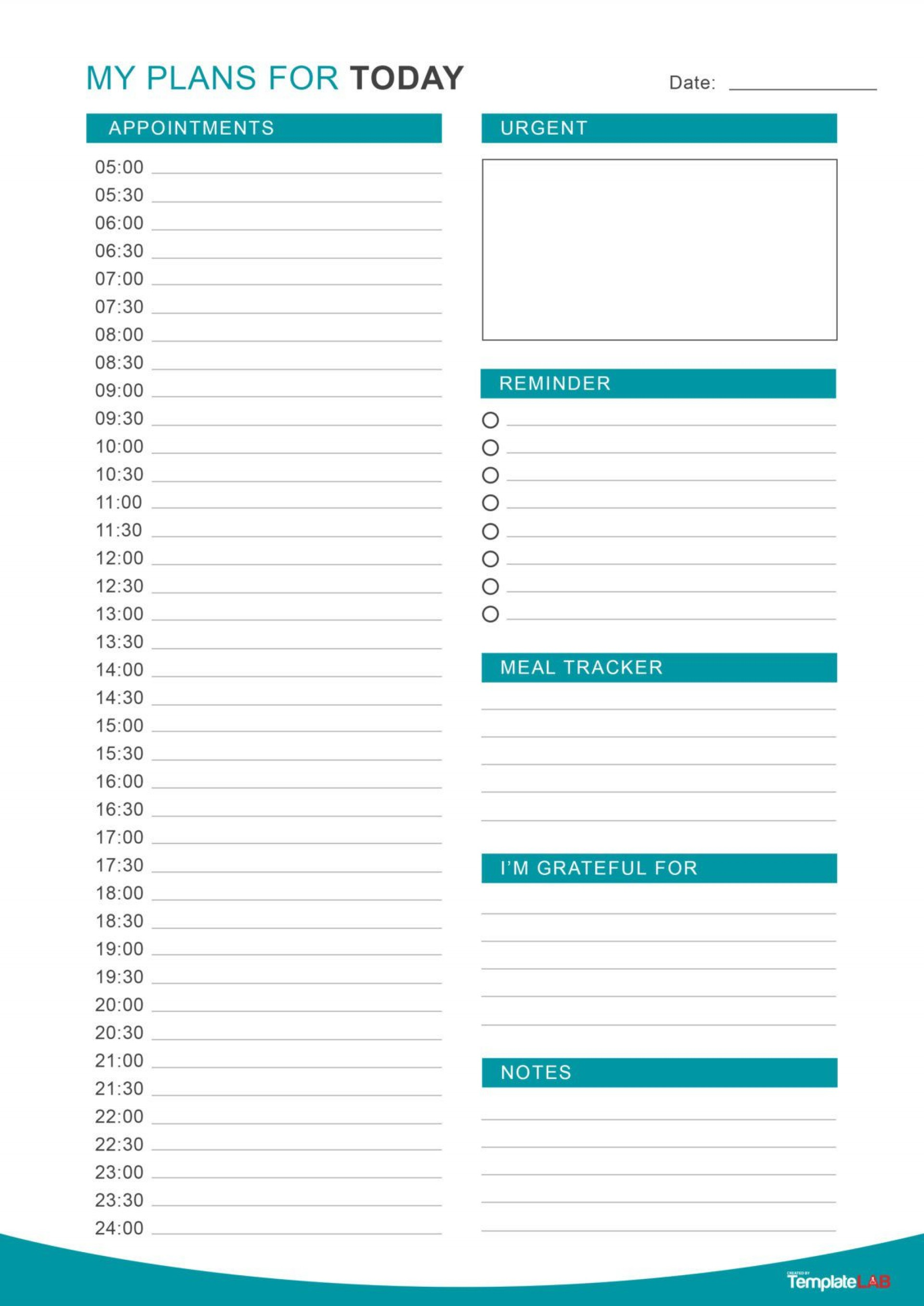 Daily Routine Schedule Template Addictionary