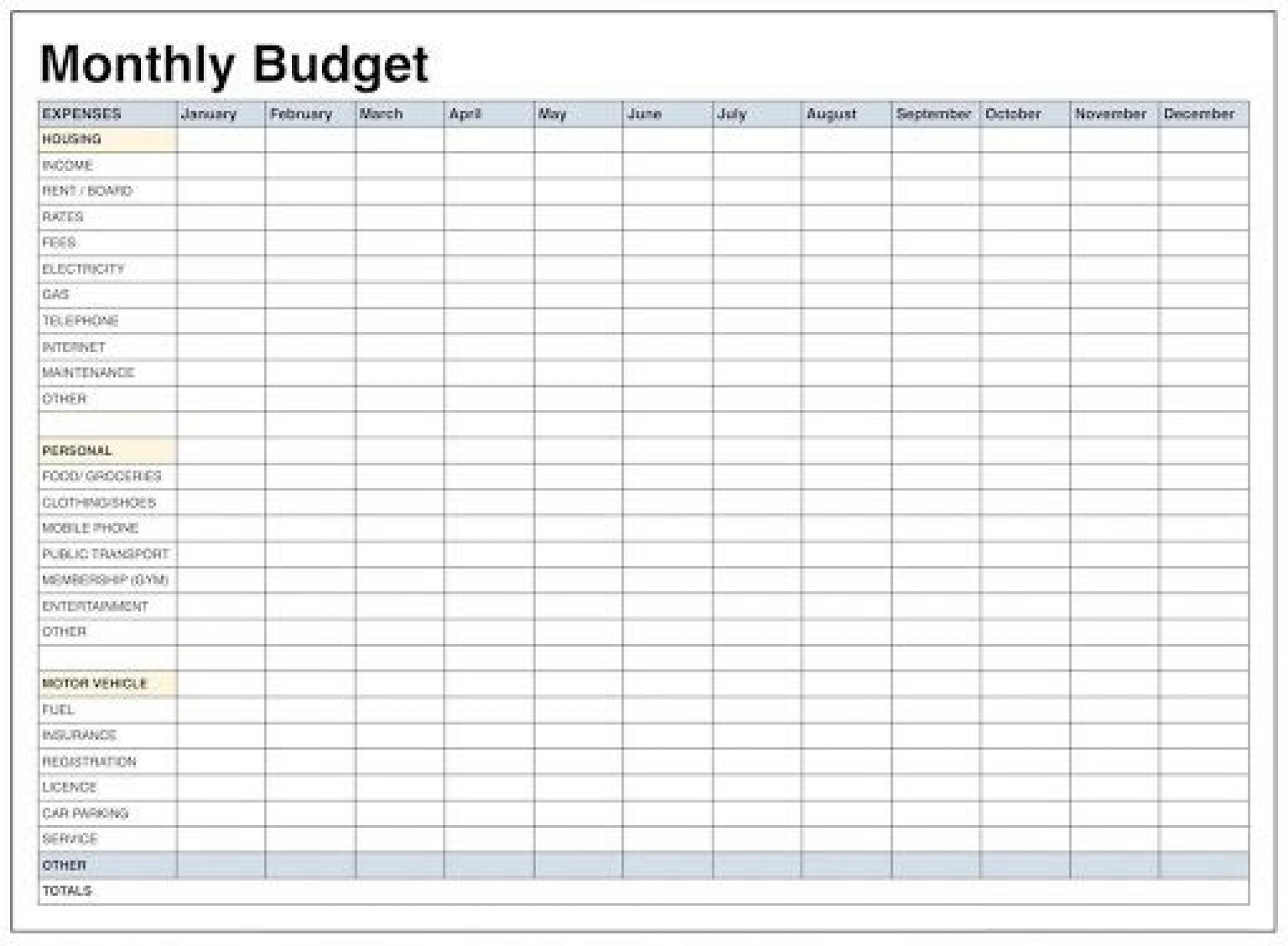 Blank Monthly Budget Worksheets Addictionary
