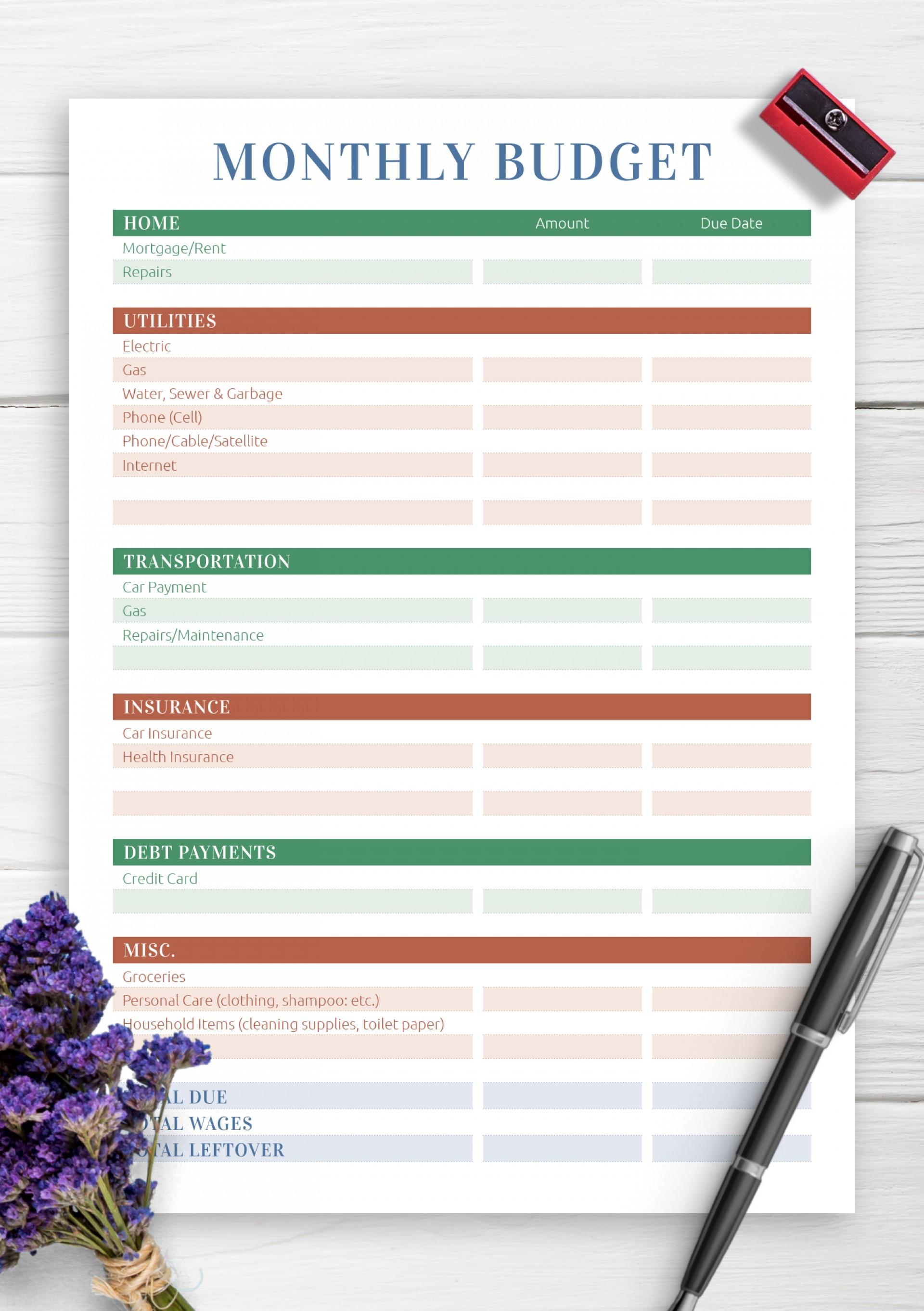 Household Budget Template Printable Monthly Cash Flow