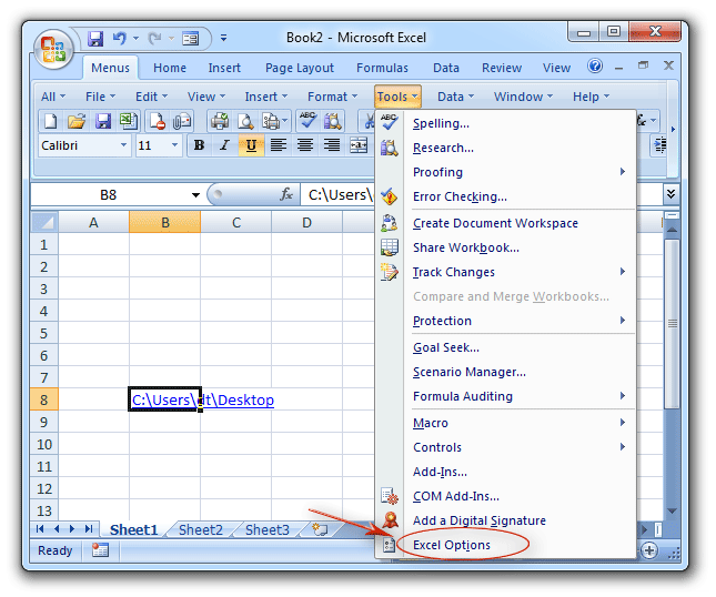 Where is Excel Options in Microsoft Excel 2007, 2010, 2013 and 2016