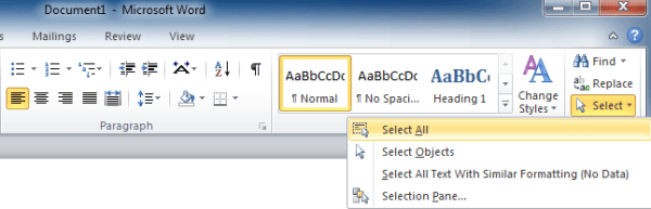 Where is Select All in Office 2007 2010 2013 and 365