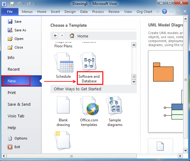 visio 2013 uml deployment diagram xrm 110 wiring where is the model in microsoft 2010 and 2007 after you click software database can see appearing under template