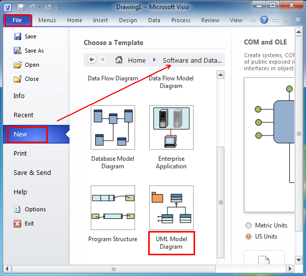 class diagram visio template complicated water cycle where is the uml model in microsoft 2010 and 2007 after you click software database can see appearing under