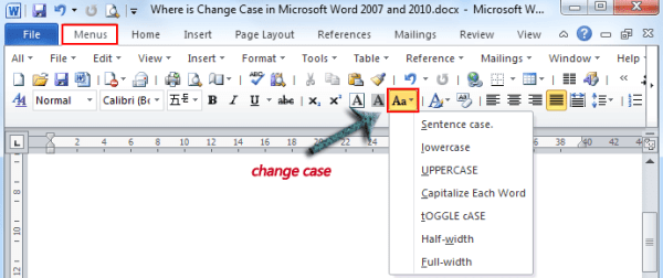 Where is the Change Case in Microsoft Word 2007 2010