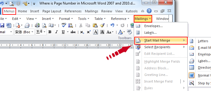 Where is the Mail Merge in Microsoft Word 2007, 2010, 2013 and 2016