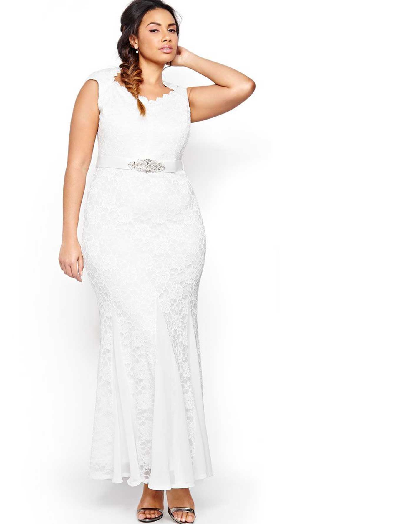 Lace Wedding Dress with Sweetheart Neckline  Addition Elle